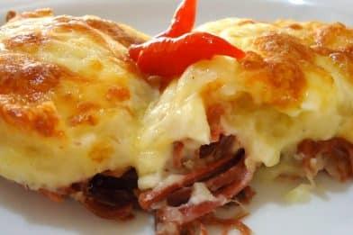 Escondidinho de carne seca com batata delicioso