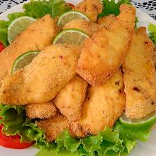 Peixe frito com fubá