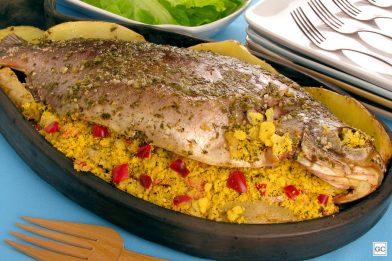 Farofa deliciosa para rechear peixe